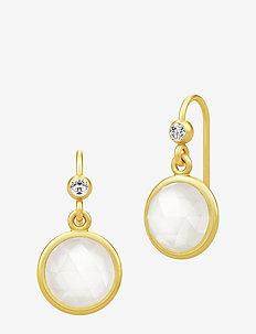 Moon Earrings ‐ Gold / White - GOLD