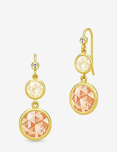 Cocktail Double Earrings - Gold/Lemon and Champagne - GOLD / LEMON AND CHAMPAGNE