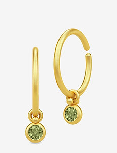 Finesse Minihoops - Gold/Green Tourmaline - GOLD / GREEN TOURMALINE