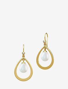 Afrodite droplet earring - Gold - PEARL WHITE