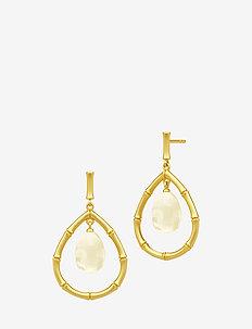 Bamboo Wisdom Droplet Earrings - Gold/Lemon - YELLOW