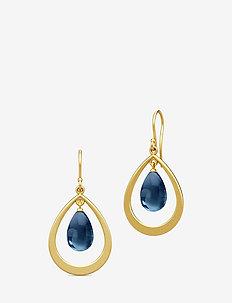 Prime Droplet Earrings - Gold/Sapphire B - pendant - blue
