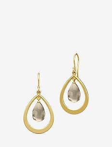 Prime Droplet Earrings - Gold/Smokey - BROWN