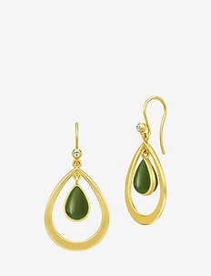 Poetry Droplet Earrings ‐ Gold/Green - GOLD / GREEN JADE CRYSTAL