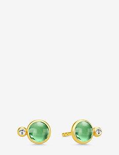 Prime Earstuds - Gold/Green - kolczyki sztyfty - rhodium /clear