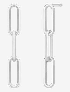 Link Triple Earstuds - wiszące kolczyki - rhodium