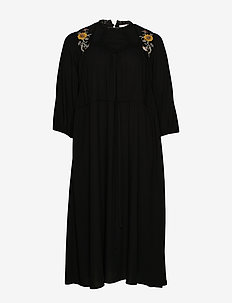 JRPALOMIA 3/4 SLEEVE MIDI DRESS - K - BLACK