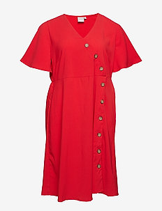 JRABINE 2/4 SLEEVE BELOW KNEE DRESS - K - HIGH RISK RED