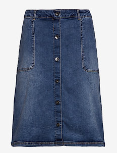 JRONEJUDY BELOW KNEE MB SKIRT - K - MEDIUM BLUE DENIM