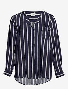 JRVERONICA LS STRIPE SHIRT - K - long-sleeved shirts - navy blazer