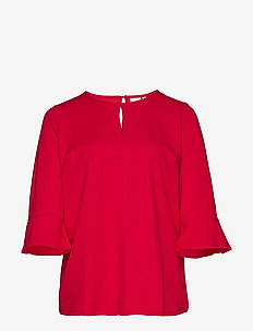JRWINDY 3/4 SL BLOUSE - S - JALAPENO RED