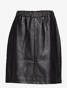 JRSAVANNAH HW IMITATED LEATHER SKIRT - K - BLACK