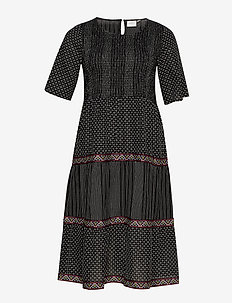 JRJELIS 2/4 SLEEVE MIDI DRESS - K - BLACK