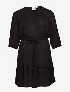 JRFLUKKA 3/4 SLEEVE ABK DRESS - K - BLACK