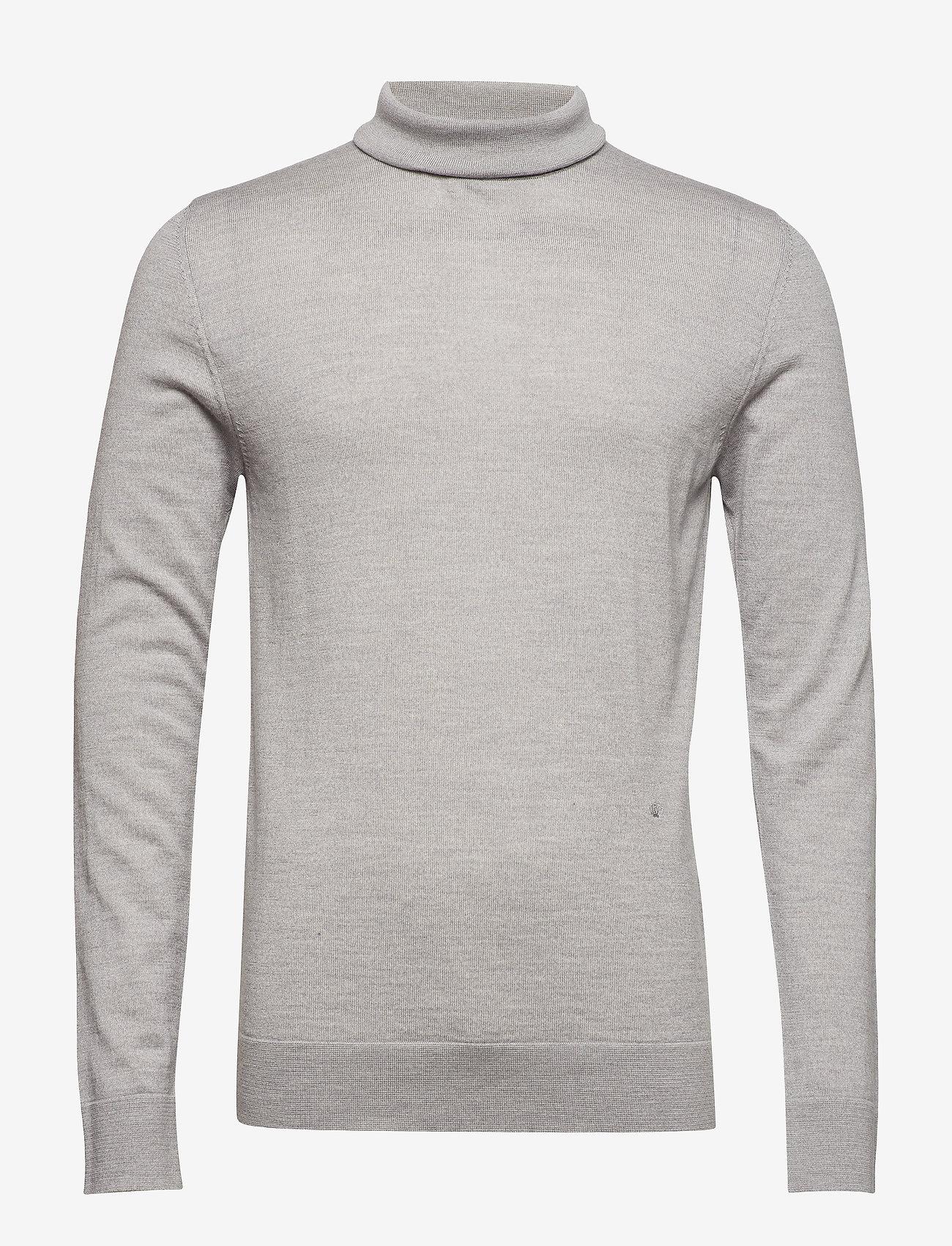 Fine Merino Wool Roll Neck Kni (Grey Mel) - JUNK de LUXE YbN4Hd