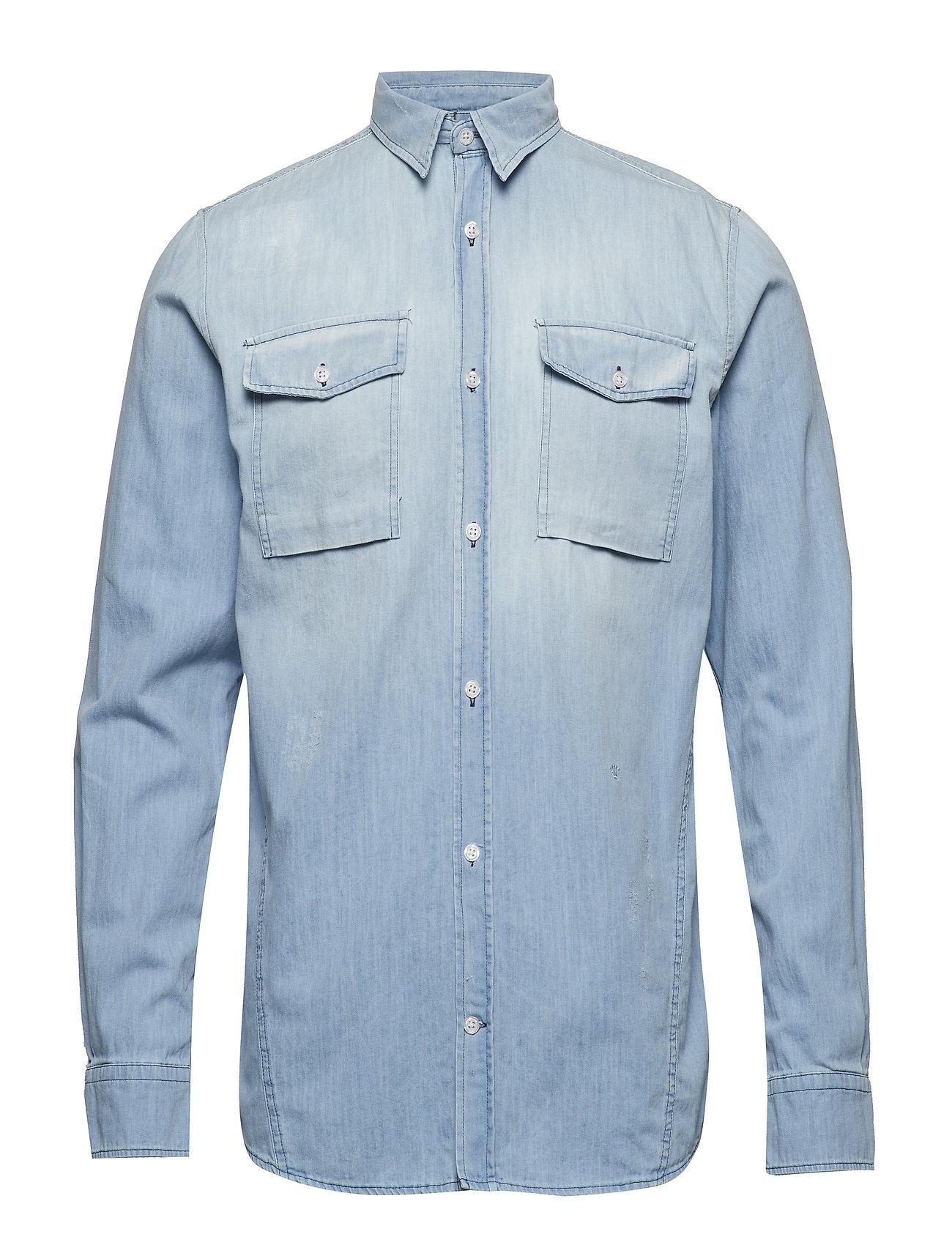 79f1f230ca3 BLEACH INDIGO JUNK de LUXE Washed Indigo L/S Cargo Shirt casual ...