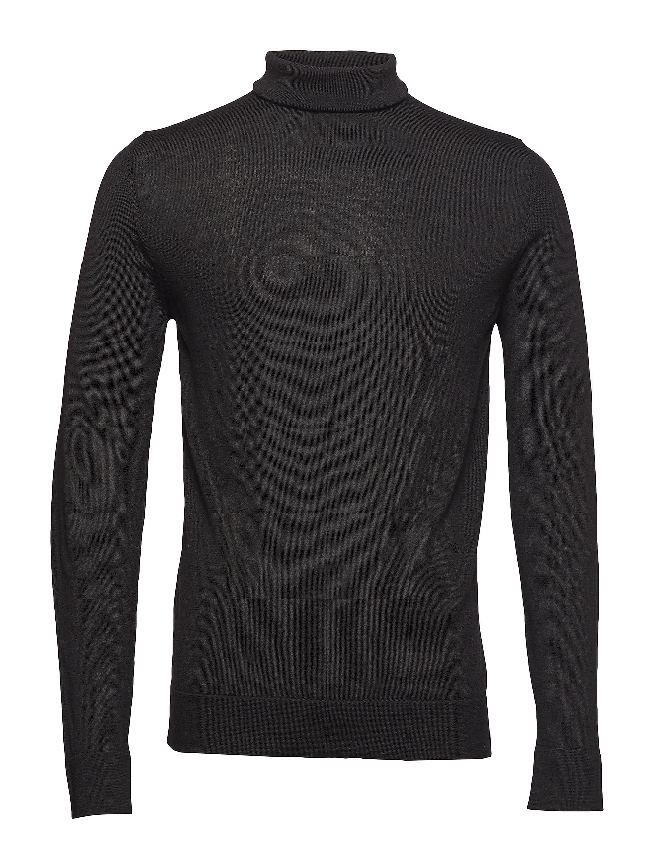 JUNK de LUXE Fine merino wool roll neck kni - BLACK