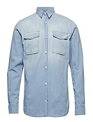 Washed indigo L/S cargo shirt - BLEACH INDIGO