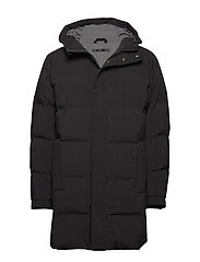 Hooded down filled coat - BLACK