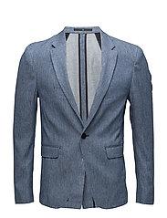 Cotton linen denim blazer - INDIGO