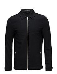 Fine twill zip up blouson - BLACK