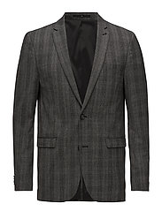 Stretch check wool blazer - GREY MEL