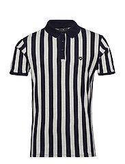 Bold stripe pique polo - NAVY