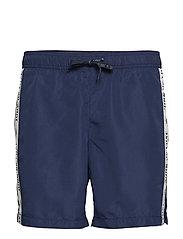 Logo tape swim shorts - DK BLUE