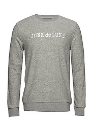 Terry cloth embroidery sweat - GREY MEL