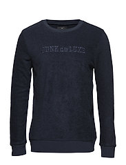 Terry cloth embroidery sweat - NAVY