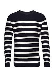 Striped knit jumper - NAVY