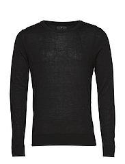 Fine merino wool knit jumper - BLACK