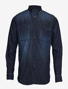 Washed indigo L/S cargo shirt - DK INDIGO WASH