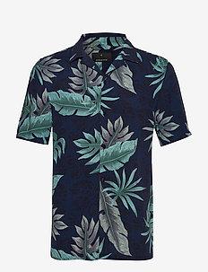 AOP S/S resort shirt - kortermede skjorter - dk blue