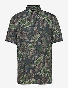 AOP S/S resort shirt - kortermede skjorter - dk sand