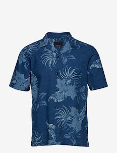 AOP indigo S/S resort shirt - WASH INDIGO