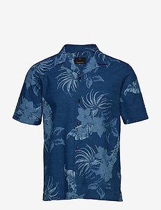AOP indigo S/S resort shirt - kortermede skjorter - wash indigo