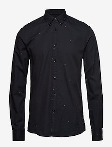 Jacquard logo denim L/S shirt - BLACK