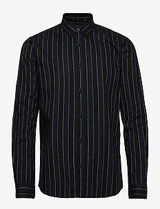 Stripe L/S oxford shirt - BLACK