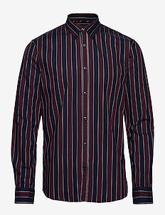 Stripe L/S oxford shirt - BURGUNDY