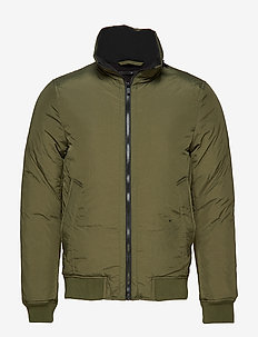 Padded high collar bomber jkt - ARMY