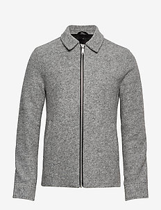 Boiled wool zip through jacket - perusneuleet - lt grey mel