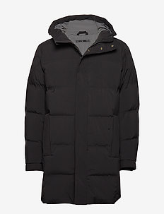 Hooded down filled coat - BLACK
