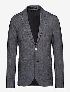 Herringbone cotton linen blz - enkeltkneppede dresser - indigo