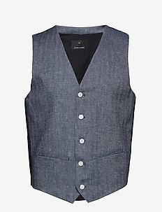 Cotton linen waistcoat - INDIGO