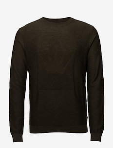 Crown logo knitted jumper - basisstrikkeplagg - army mel