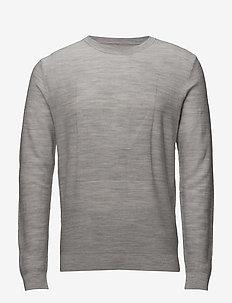 Crown logo knitted jumper - basisstrikkeplagg - lt grey mel