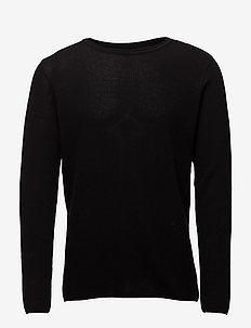 Waffle knit jumper - basisstrikkeplagg - black