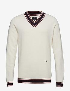 Contrast V-neck knit jumper - OFF WHITE