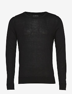 Fine merino wool knit jumper - BLACK